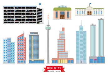 Big City Buildings Vector Set. 10 flat design icons