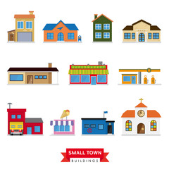 Small Town Buildings Vector Set. 11 flat design icons