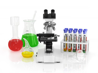 Microscope and medical utensils.