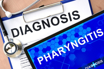 Form with word diagnosis and tablet with pharyngitis