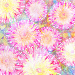 Water color pink peonies background.