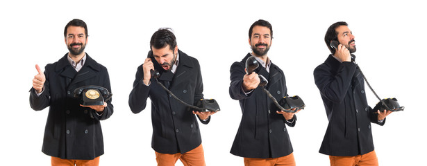 Man talking with vintage phone