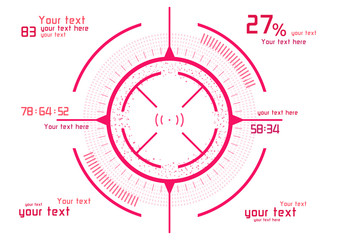 Pink infographics on white background