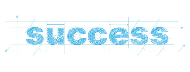 SUCCESS technical lettering