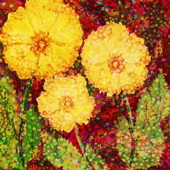 Acrylic hand drawn design with three yellow flowers.