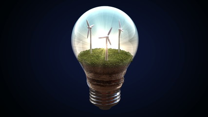 Wind energy makes an electric bulb