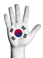 Open hand raised, multi purpose concept, Korea flag painted
