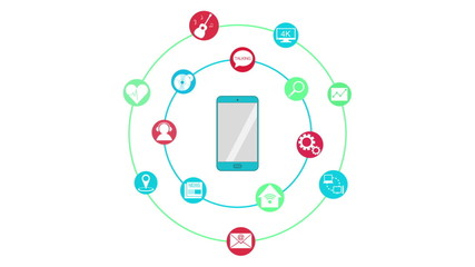 Various application surrounded smart phone.