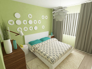 a 3d render of a modern colorful bedroom