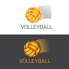 Speeding volleyball logo ball flying through the air with motion