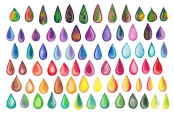Colorful rainbow drops. Abstract hand drawn watercolor