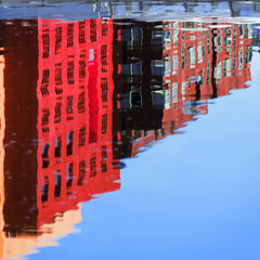 abstract houses water reflection
