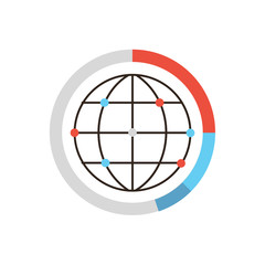 Global data network flat line icon concept