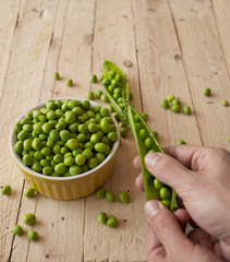 Ecological fresh green peas pods.