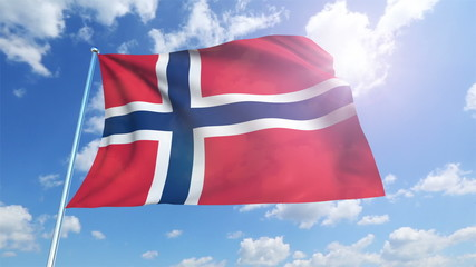 Norway flag with fabric structure against a cloudy sky (loop)