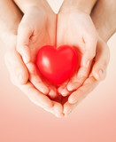 close up of couple hands holding red heart