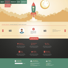 flat design website template with rocket retro spaceship