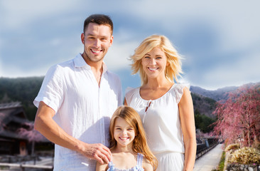 happy family over hills background