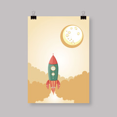 Retro Spaceship vector poster template.
