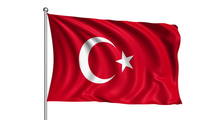 Turkey flag with fabric structure (loop, with alpha channel)
