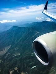 landing plane window view
