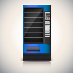 Vending Machine with shelves, blue coloor.
