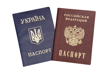Ukrainian and Russian passport