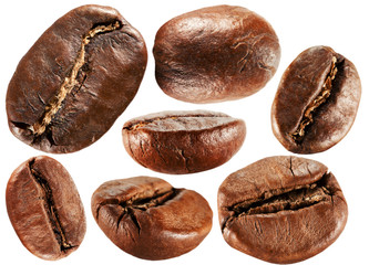 collection of coffee beans isolated on the white background