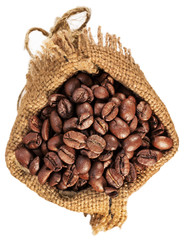 bag with coffee beans isolated on the white background