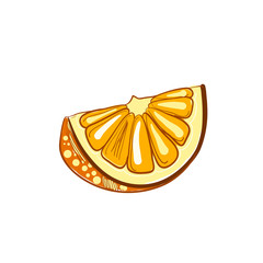 Illustration of hand drawn slice of orange