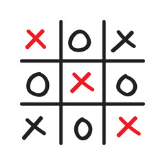 Illustration of hand drawn tic-tac-toe competition