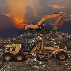 Excavator and grader