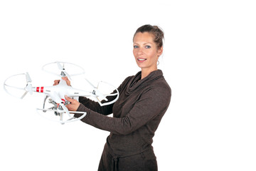 Beautiful young woman with a drone