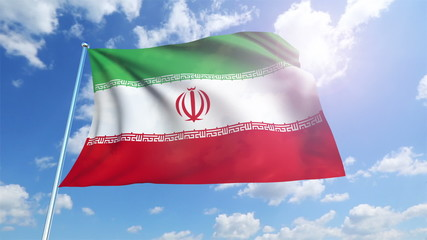 Iran flag with fabric structure against a cloudy sky (loop)