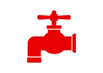 Red faucet icon on white background