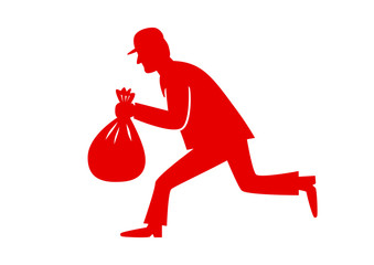 Red thief icon on white background