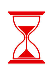 Red hourglass icon on white background