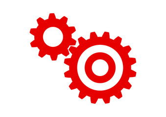 Red industrial icon on white background