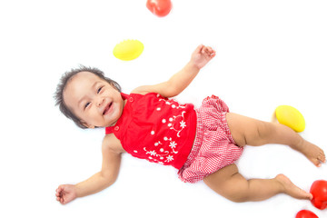 asian baby on white back ground