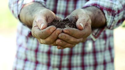 Farmer holding soil in his hands