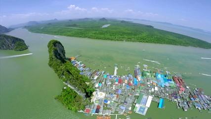 Aerial view Koh Panyee village, Phang nga Bay, Thailand