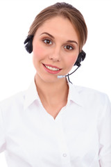 Smiling young support phone operator in headset