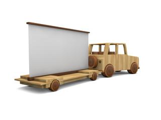 Auto di legno con banner