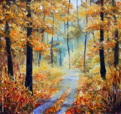 droga-w-lesie-jesienia-oryginalny-obraz-olejny