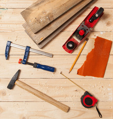Woodworking tools on a carpenter's table
