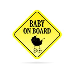baby on board warning vector