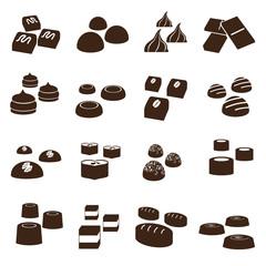sweet chocolate truffles styles icons set eps10