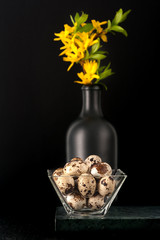 Quail eggs on a black background