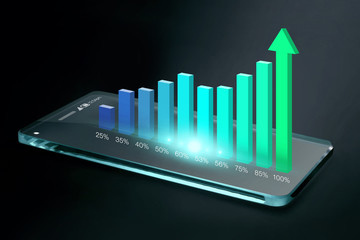 Transparent smartphone with colorful business chart on screen
