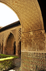 Alcazar palace in Seville, Yeso courtyard, Andalusia, Spain
